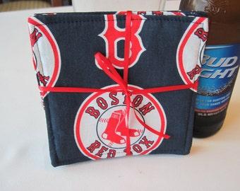 Red Sox Coasters Reversible  MLB Coasters Boston Red Sox Coasters Red Sox Mug Rugs Boston Sports Mug Rugs Boston Red Sox Gift