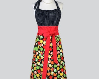 Cute Kitsch , Retro Chef Apron Candy Apple Red and Granny Smith Apple Green Apples Kitchen Apron or Ideal Hostess or Housewarming Gift