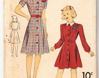 Vintage 1941 DuBarry 2656B Sewing Pattern Girls' Dress Size 16