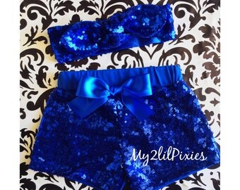 Baby Girl BLUE Sparkle Sequin SHORTS and HEADBAND-  Birthday Shorts, Birthday Set, Sequin shorts, Toddler shorts, toddler sequin shorts-