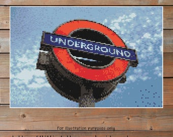 London Underground Crochet Chart - Tube Graph Crochet - Photo Blanket - Corner to Corner - C2C - Written Line Counts - Cross Stitch