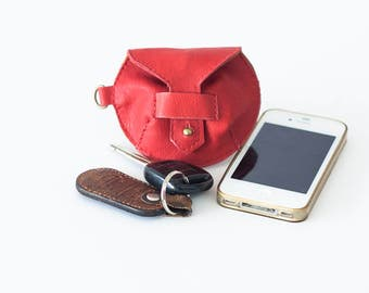 Earphones red leather case, earbuds pouch headphone holder cable holder organizer earphone keeper coin purse