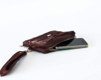 Wallet with strap in pony hair brown leather, womens phone wallet phone case zipper clutch wallet  -Thalia Wallet