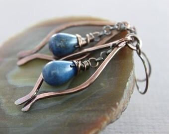 Marquise lapis lazuli copper earrings with indigo blue lapis lazuli teardrop stones - Drop earrings - Chandelier earrings - ER030
