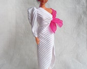 Barbie Superstar excess one shoulder slit up to there hambone sleeve pleated with pink bow dress, tagged, htf