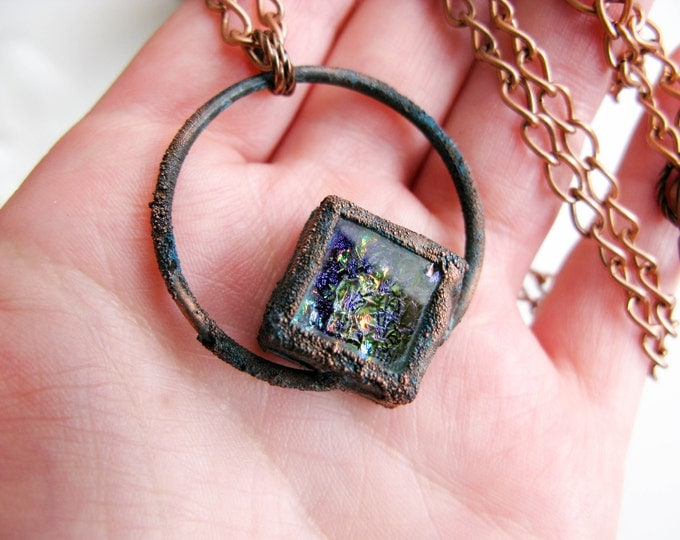 Boho necklace Purple-green Fused Glass Pendant Electroformed Copper Necklace Modern Jewelry Large Glass Pendant Statement necklace OOAK