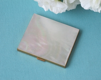 Vintage Compact Shimmering White Mother of Pearl Shell & Gold Toned Brass c.1960s