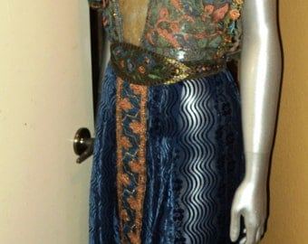 ON SALE Blue Egypt handmade 1920's Dress Silk Velvet Skirt with Metallic Lace Ethnic Bohemian Embroidered Sleeves Orientalism OOAK