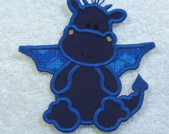 Blue Dragon Patch Fabric Embroidered Iron On Applique Patch Ready to Ship