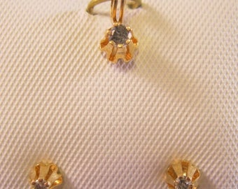 SALE ON Ends 4/30 10k Genuine .10ct Diamond Pendant & Earrings Buttercup Old New Stock