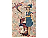 cat portrait pet portrait bird woman vintage flower green blue cornflower tagt team