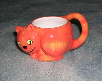 RARE CHESHIRE Orange CAT, Garfield Style Coffee Mug, Unique Cup, Decorative Orange Coffee Cup,  Novelty, Gift, Nestle Carnation Coffee-mate