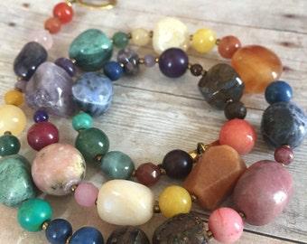 Chakra Necklace, Meditation Beads, Rainbow Necklace, Chakra Jewelry, Graduation Gift, Yoga Jewelry, Statement Necklace, Mothers Day Gifts