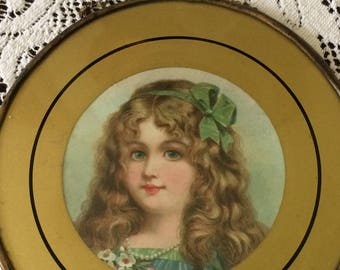 Antique Victorian Beautiful Girl Stovepipe Flue Cover