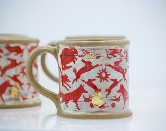 Stoneware Mug -  Stoneware Cup - Woodland Mug - Woodland Cup - Ceramic Stoneware - Red Coffee Cup - Red And White Coffee Cup
