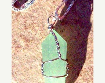 ON SALE FORTUNATE One - Aventurine and Sterling silver necklace, sterling silver necklace with Aventurine,