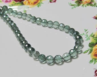 "4.5"" Strand - Sparkling AAA Forest GREEN Mystic QUARTZ Faceted Big Round Rondelles"