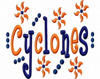 Cyclones Applique Machine Embroidery Design 4x4 7x5 10x6  Team Instant Download Basketball Football Baseball Soccer Sports Little League