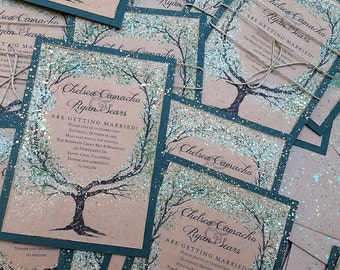 summer Wedding Invitation tree hand painted woodland invites