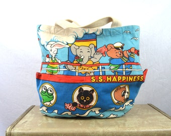 Vintage 1970s 70s Canvas Tote Book Bag - The Adventures of the S.S. Happiness Crew - Children's Book Tote
