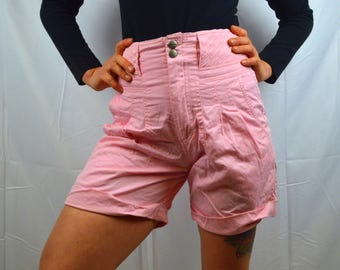 Vintage 80s Pink Palmettos Pleated High Waisted Summer Shorts