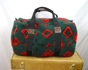 Vintage 90s Fleece Cozy Geometric Duffel Bag