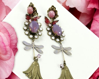 Clip on earrings dragonfly, flower, butterfly, brass charms, Swarovski crystal, pink cabochon
