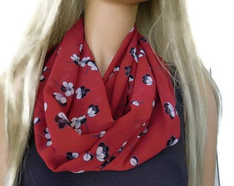 Cherry red floral Infinity scarf, Necklace scarf floral print cowl-Tube version