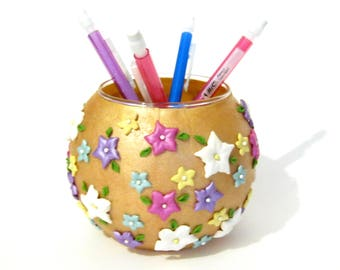 Red Gold Round Vase with White, Purple, Pink, Blue, and Yellow Flowers - Polymer Clay - Home Decor - Pencil Holder - Desk Organizer