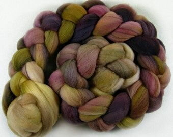 Plum Golden 2 merino wool top for spinning and felting (4.2 ounces)