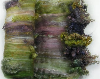 Plum Thicket Wild Card Bling Batt for spinning and felting (4.8 ounces)