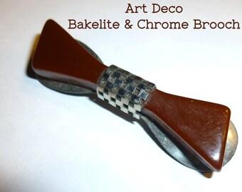 """Bakelite & Chrome Metal Brown Brooch. 1930s. Vintage Art Deco Style. 2.25"""" Long. Probably European."""