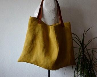 Tote bag organic hemp naturally dyed rustic minimalist yellow leather straps handbag shoulder shopper boho bohemian style earthy holistic