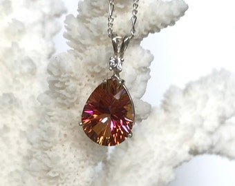 Caribbesn Mystic topaz pendant with white topaz accent