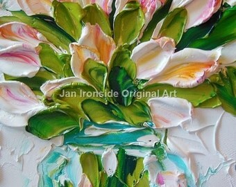 Tulip Painting, oil painting , impressionist, Amber and Pink Tulips, Valentines gift