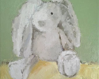Ready to Hang Art, ORIGINAL OIL Painting, Baby Art, Baby Shower Art, Stuffed Animal Art, Wall Art 'Baby Bunny' by AndolsekArt