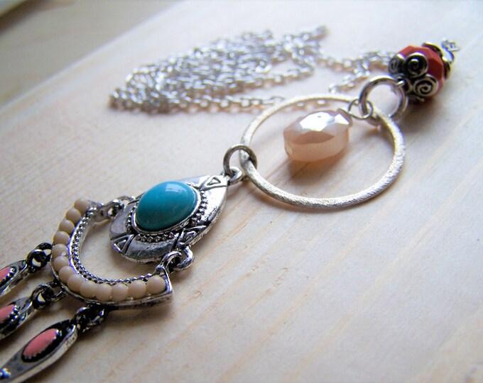 Long boho necklace, long layering necklace, long boho bead necklace, long boho pendant, bohemian pendant, bead necklace, gypsy necklace