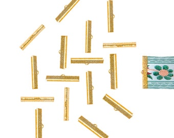 150pcs.  35mm (1 3/8 inch)  Gold Ribbon Clamp End Crimps - Artisan Series