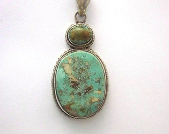 Natural Turquoise Sterling Silver Pendant Southwest Jewelry Genuine Turquoise