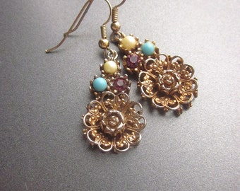 Vintage Rose Dangle Earrings Floral Jewelry