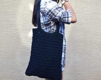Black crochet tote cotton reusable bag stylish shopping bag beach tote boho bohemian