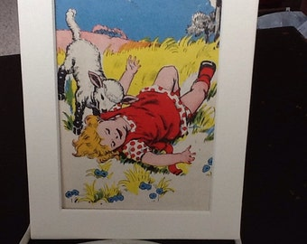 newly matted child and her pet lamb book page illustration