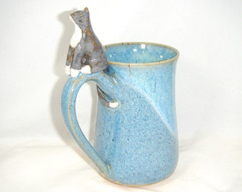 Cat Mug Gray Cat Coffee Cup Mitten Kitten Tea Cup Blue Handmade OOAK