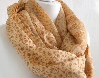 Cream Hazelnut Floral Recycled Sari Silk Scarf Nursing Cover Sari Scarf Silk Scarf Indian Silk Infinity Scarf Handmade Scarf- CMCISE0294