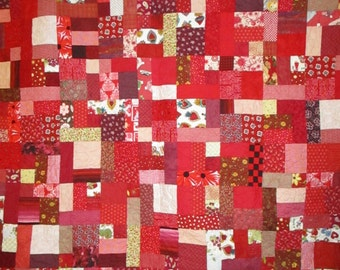 Queen size Bed Quilt Red Scrappy 67