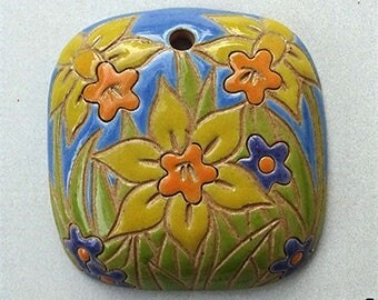 Daffodils, Daffodil Pendant, Square Daffodil Pendant, Yellow, Orange And Blue Daffodil Pendant, Golem Design Studio Beads