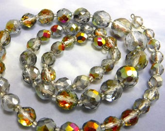 Vintage Beaded Necklace 23 inch Metallic Faceted Fire Polish Beads Lot 83