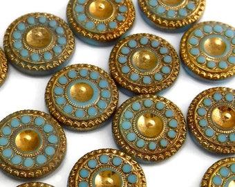 Vintage Glass Cabochon RARE 4 pcs 13mm  Gold Turquoise Stones S-31 G