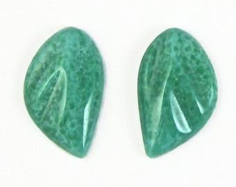 Jade Green Leaf Vintage Glass Stones Cabochon 2 pcs 22x15 S-78