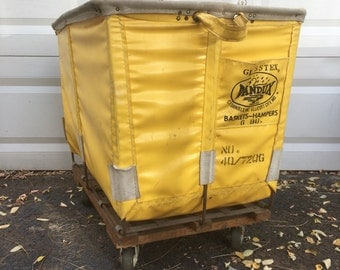 Vintage Yellow Vinyl Dandux Laundry Cart